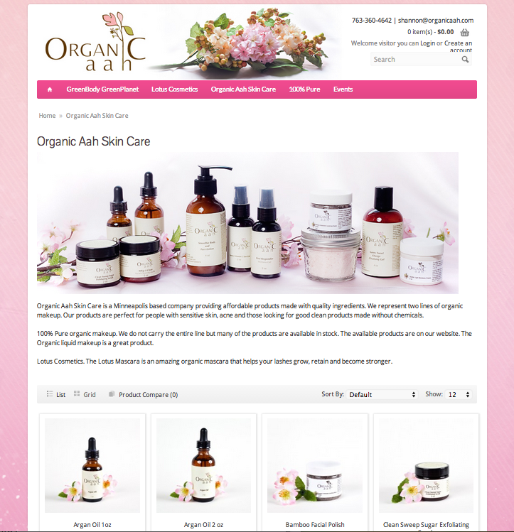 Organic Aah E-Commerce Website